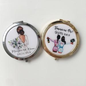 Уникальный пользовательский логотип день рождения свадьба невеста к портативному компактному зеркалу подружки невесты подарки персонали...