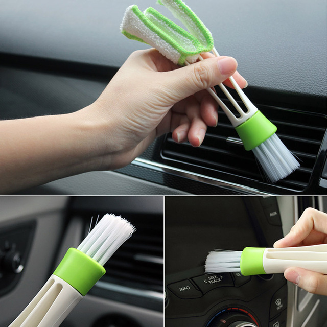 New Portable Double Ended Car Air Vent Slit Cleaner Brush Dusting Blinds Keyboard Cleaning Brushes CSL2018