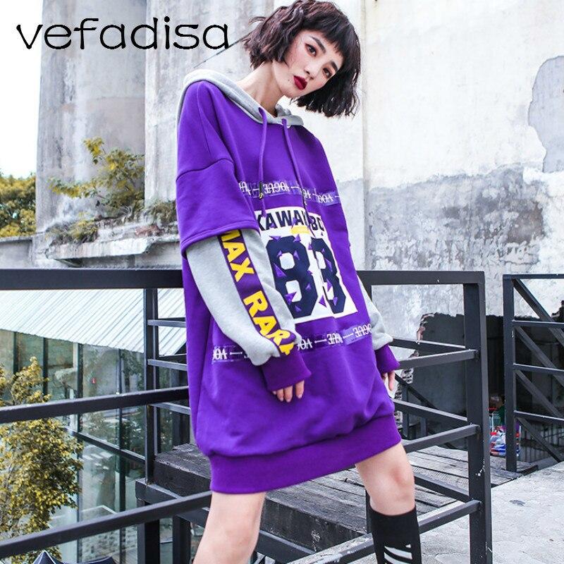 Faux Femmes purple Deux Molletonnés Topsamp; Black Des Pourpre Ad2253 2018 Sewatshirt Lettres Automne Imprimer Pulls Vefadisa De Sweat Noir Pièces FTKlu1c3J