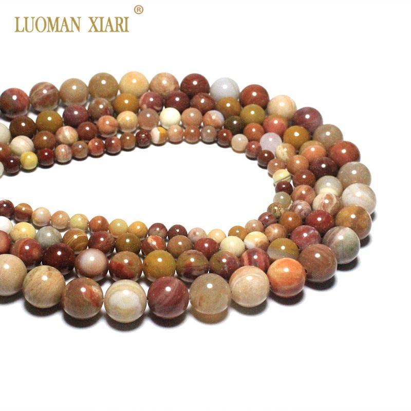 022f80e1f001 Venta al por mayor AAA + ronda Rosa Natural madera petrificada piedra  perlas para joyería hacer DIY pulsera collar 6 8  10 12mm Strand 15