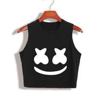 2017 New Arrival Summer Women Tops Marshmello Face Crop Top High Quality Cropped Tumblr Clothing Camisetas