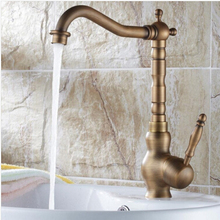 Новое поступление высокое качество античная латунь роскошная ванная комната одним рычагом дизайн для мойки кран, Кухня смеситель