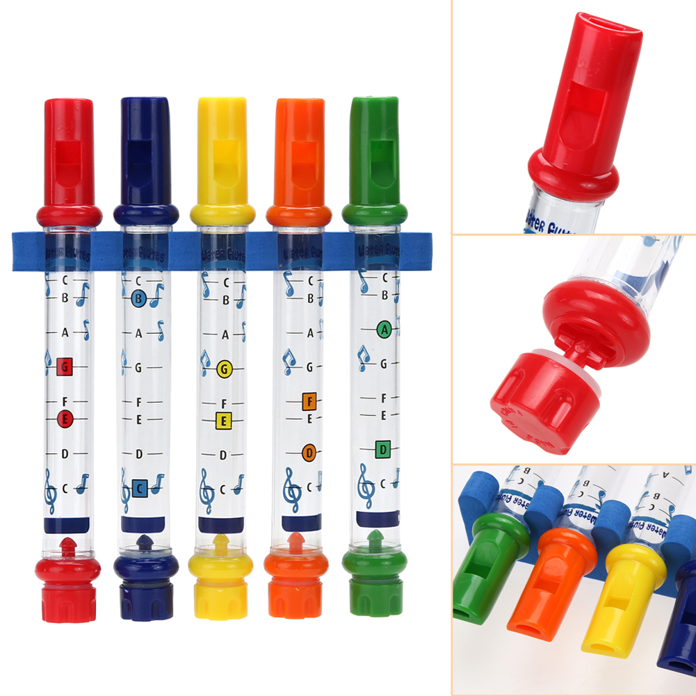 Music bathroom set - 5pcs 1 Row New Kids Children Colorful Water Flutes Bath Tub Tunes Toy Fun Music Sounds