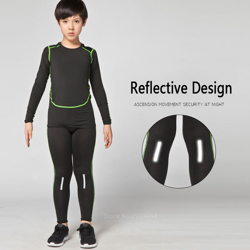 c48c11491fde6 New Kids Boys compression runing shirts+pants set survetement football  jerseys 2017 youth soccer training skinny tights leggings-in Running Sets  from Sports ...