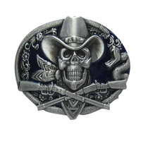 Hot Sale Belt Buckles Metal Cowboys Skull Waistband Design With Good Plating Suitable For 4cm Width