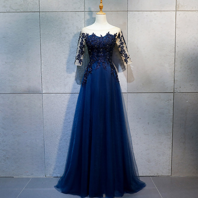 Evening Dresses Long Pretty Sexy Navy Blue O-neck Half Sleeves Beads Lace A-line Sparkle New Formal Party Gowns 2019