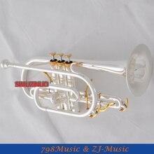 Профессиональный посеребренный Корнет рога b-плоский двойной триггер труба с Чехол