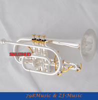 Professional Silver Plated Cornet horn B flat Double triggers Trumpet With Case