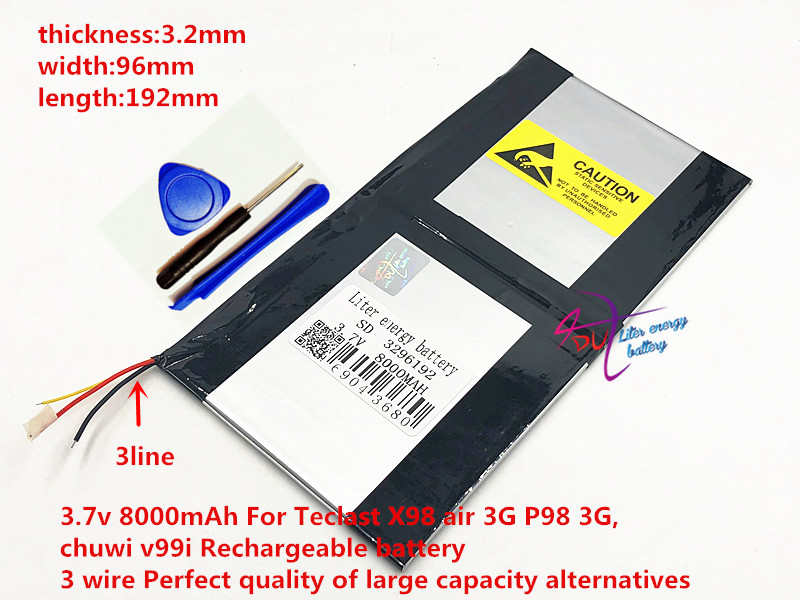 <font><b>3.7V</b></font> <font><b>8000mAh</b></font> For Teclast X98 air P98 3G v99i Tablet PC Battery 3 wire Perfect 3296192 image