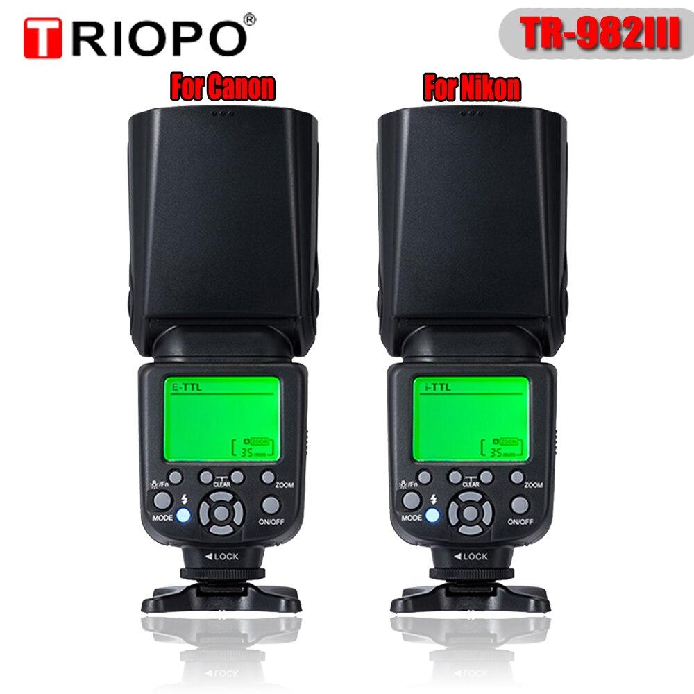 Triopo TR-982III вспышка света TR982III скорость lite высокая скорость синхронный i-ttl вспышка Беспроводная фотовспышка 2,4g раб для CANON/NIKON