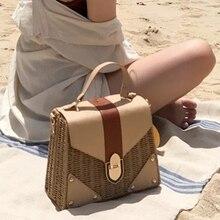 새로운 2019 여성을위한 보헤미안 밀짚 가방 비치 핸드백 여름 빈티지 등나무 가방 수제 Kintted Crossbody 가방