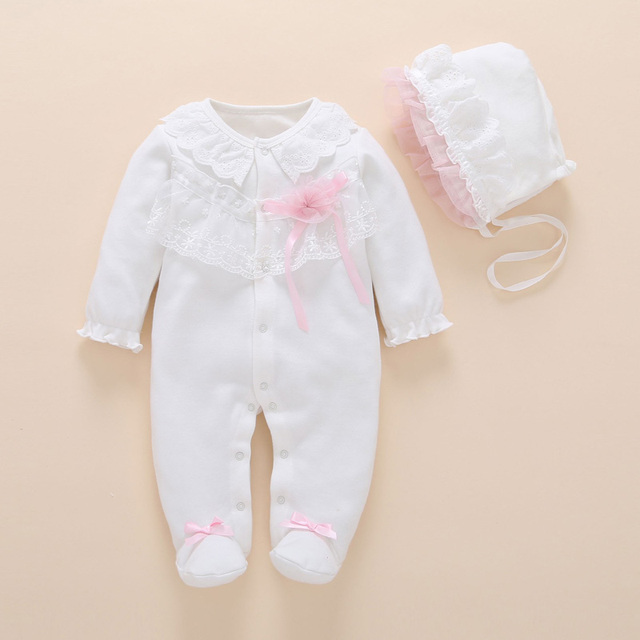 9afaa17cad9b Baby Girl Clothing Newborn Footies Lace Cotton Long Sleeve Jumpsuit+ ...