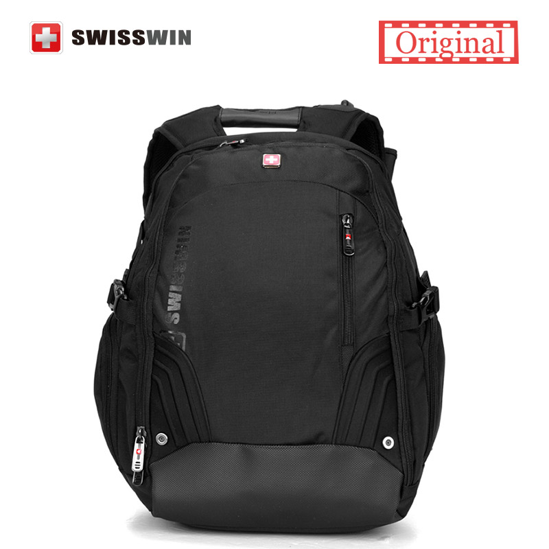 Swissgear 17.3 Laptop Backpack Bag Black Brand Male Computer Backpack for Business Travel Swisswin Big Capacity Bagpack Men