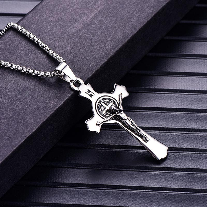 52b9dd506e8 Detail Feedback Questions about ZFVB Stainless Steel Religious Jesus Cross  Necklaces Pendants Men Christian Saint Benedict Cross Medal Pendant Necklace  ...