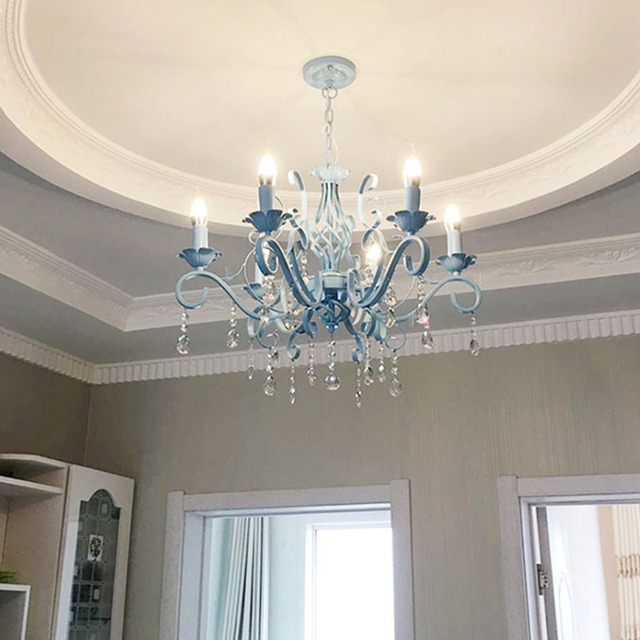 Hghomeart Blue Chandelier Led Re Suspension Nursery Chandeliers Iron Lamp Bedroom Lights Restaurant Livingroom Lighting