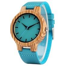 สีฟ้าไม้ไผ่ไม้นาฬิกา Man ควอตซ์นาฬิกาข้อมือของขวัญนาฬิกาหนังแท้นาฬิกาชายชั่วโมง Handmade