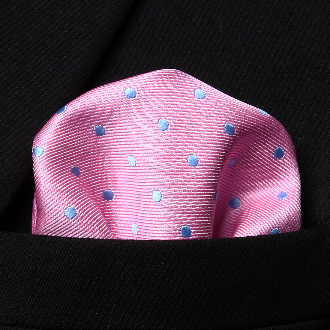 HD1013P Pink Blue Polka Dot Men Silk Party Handkerchief Pocket Square Hanky