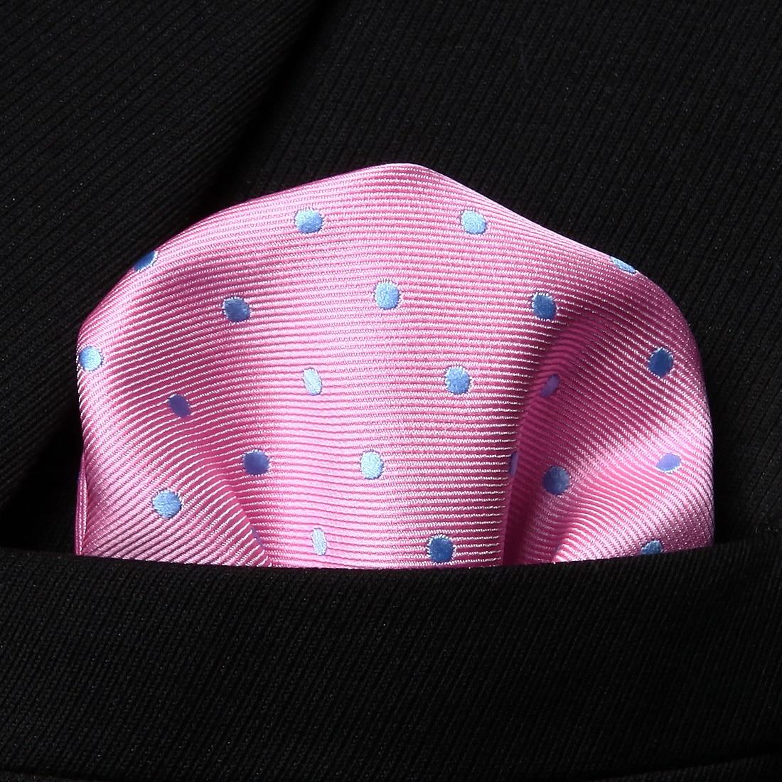 HD1013P Pink Blue Polka Dot Men Silk Party Handkerchief Pocket Square Hanky