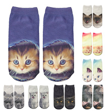 iMucci Fashion Cat Socks Women Funny New 3D Printing Unisex Christmas Sock Low Ankle