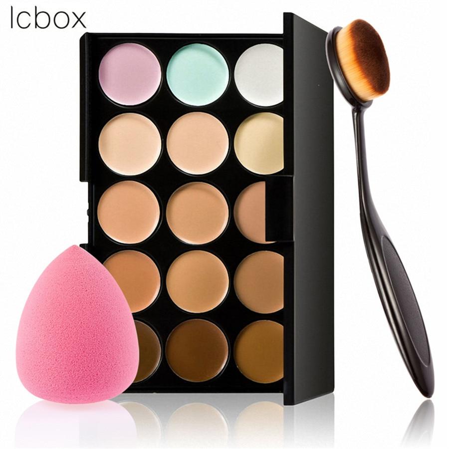 LCBOX 2017 New Makeup Brushes 15 Colors Concealer Contour Palette Oval Brush Pink Drop Puff Sponge Facial Cosmetic Tools Kit 15 color concealer palette sponge puff 24 pcs cosmetic makeup brushes