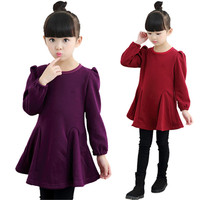 2017 New Design Baby Girls Autumn Winter Dress Long Sleeve O Neck Thick Velvet Dress Kids