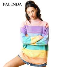 2017 new colorful sweater knit female oversize striped sweet girl