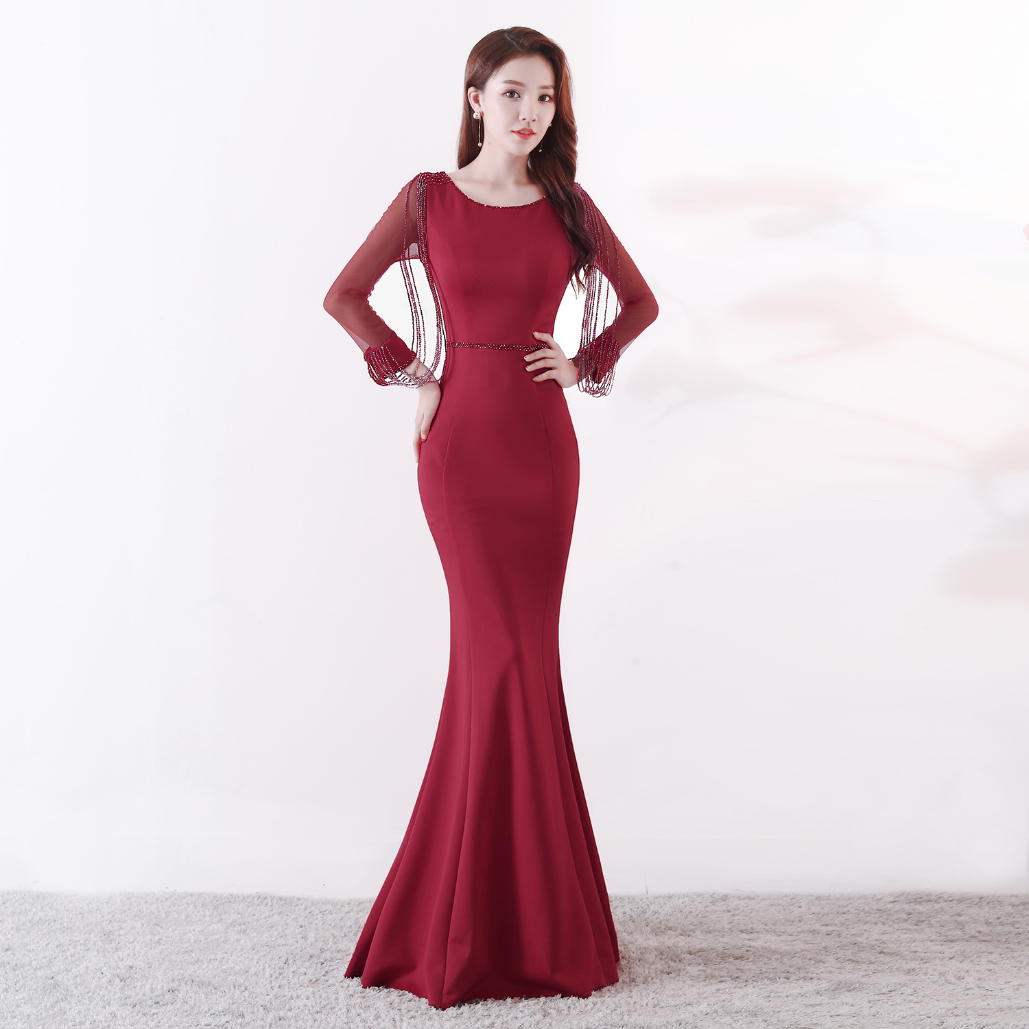 Corzzet Elegant Celebrity Party Mermaid Slim Dress Vestidos Wine Red Long Sleeved Rhinestone Chain Fishtail Long Party Dress