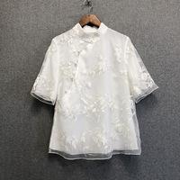 Chic embroidered chinese style blouses tops women summer short sleeves vintage Shirts A276