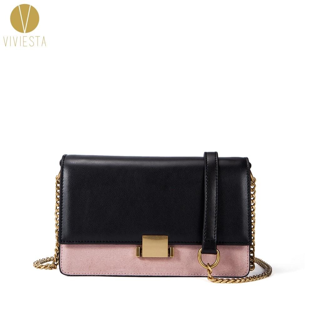 SUEDE LEATHER BI-TONE CHAIN BOX BAG - Women's New Classic Style Elegant Vintage Fashion Formal Luxury Shoulder Crossbody Handbag