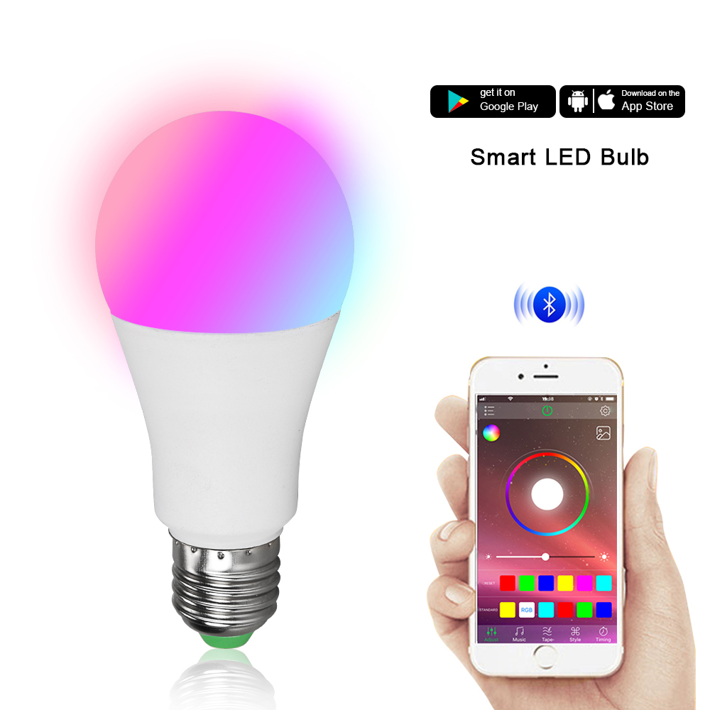US $4 93 21% OFF|Smart E27 LED Bulb Bluetooth Dimmable Lamp RGBW Timing  Light Bulbs Smart Phone IOS/Android APP Music Control Lighting AC85 265V-in