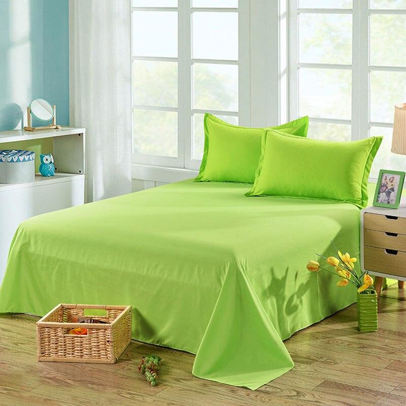 Простыня одноцветная плоская Простыня Постельное белье высокого качества постельное белье - Цвет: pure green