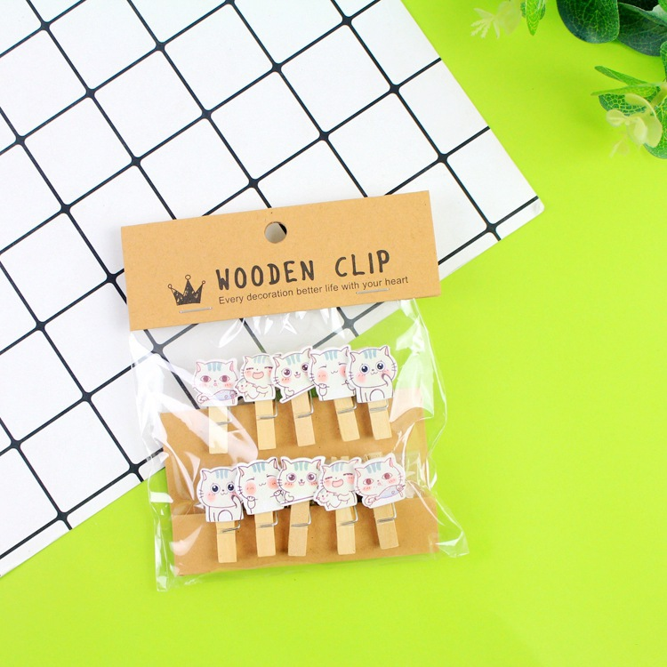 10 Pcs/Lot Kawaii Kitten Cat Wooden Clip Photo Paper Clothespin Craft Clips Party Decoration Clip With Hemp Rope