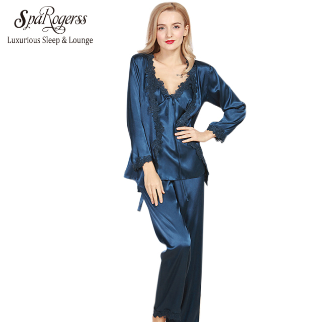 SpaRogerss Luxurious Women Robe Pajama Sets 2017 Faux Silk Ladies 3 Pcs Lace Silky Pajamas Pants Set Pajama Sleep Lounge STZ301