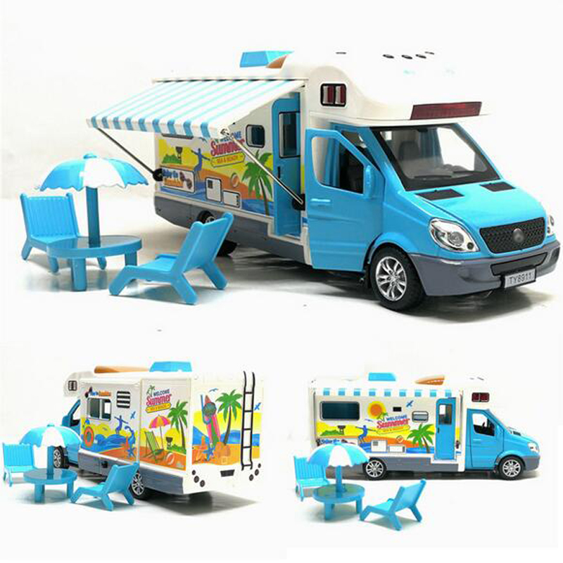 1:32 Alloy Travel Car Pull Back Toy Car Children Sound And Light Travel Toy Caravan Music Toy Car Gift