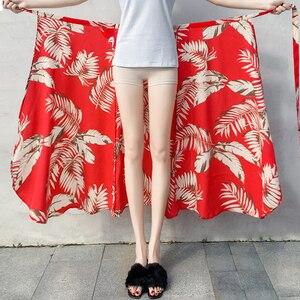 Image 4 - 2019 Summer Floral Print Summer Skirts Bohemian High Waist  Womens Boho Asymmetrical Chiffon Skirt Maxi Long Skirts For Women