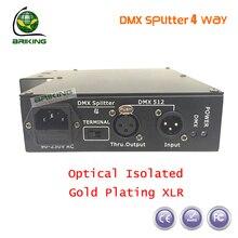 Dhl бесплатная доставка 100% оптический изолированный DMX сплиттер 4 разъём(ов) DMX дистрибьютор для сценического освещения сплиттер