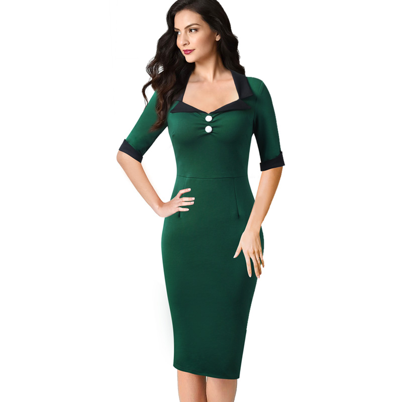 4bd2dacaf75 Vfemage Women Vintage Retro Square Neck Lapel Colorblock Elbow Sleeve Work  Business Party Fitted Bodycon Pencil