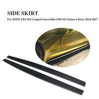 Carbon Fiber Side Skirts Trim Door Protector Chins for BMW F82 M4 2 Door F80 M3 Sedan 4 Door 2014 2017 2PCS/Set