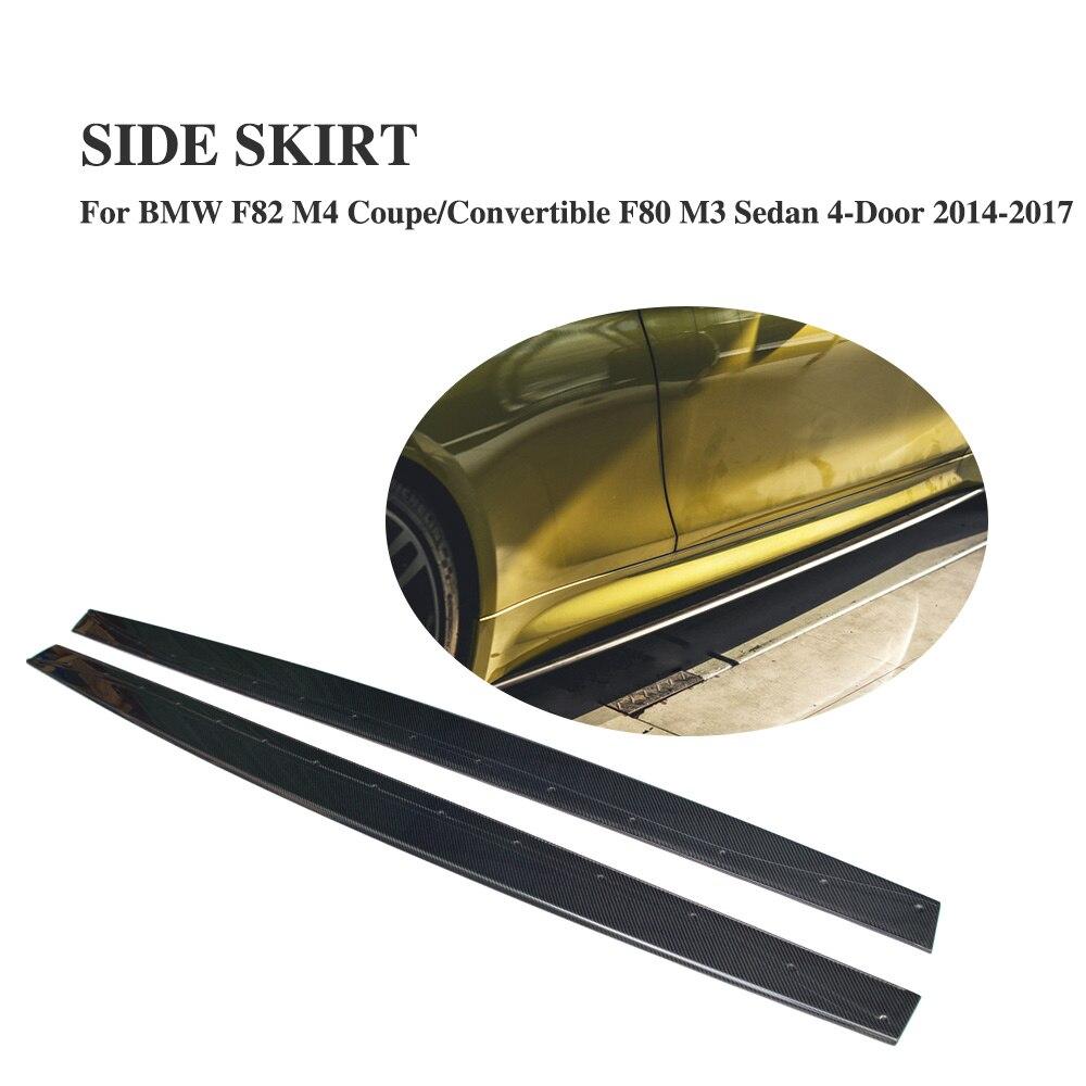 M4 углеродного волокна сбоку юбки отделка дверь протектор подбородки для BMW F82 M4 2 двери F80 M3 Седан 4 двери 2014 2017 2 шт./компл.