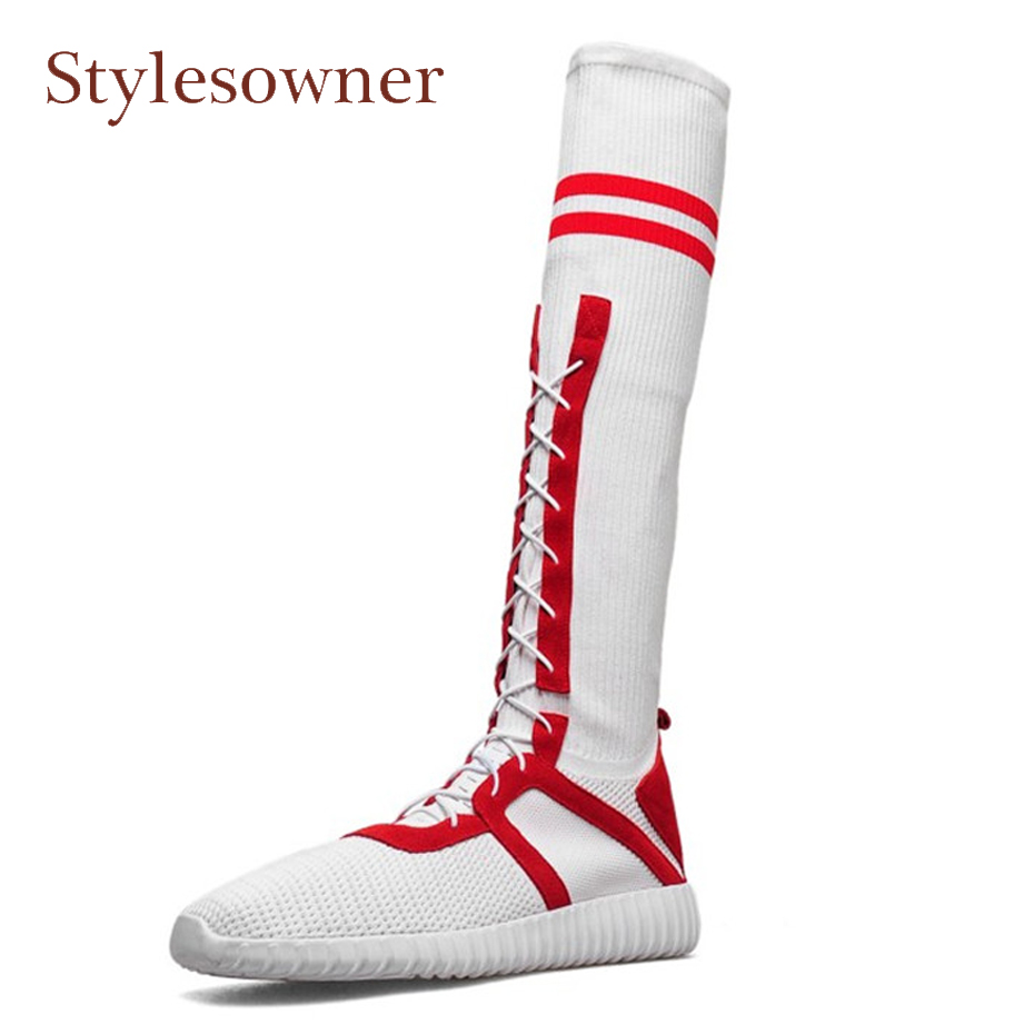 Stylesowner mixed color stretch sock boots women fashion knitting breathable thick bottom cross tied casual knee boots sneakers