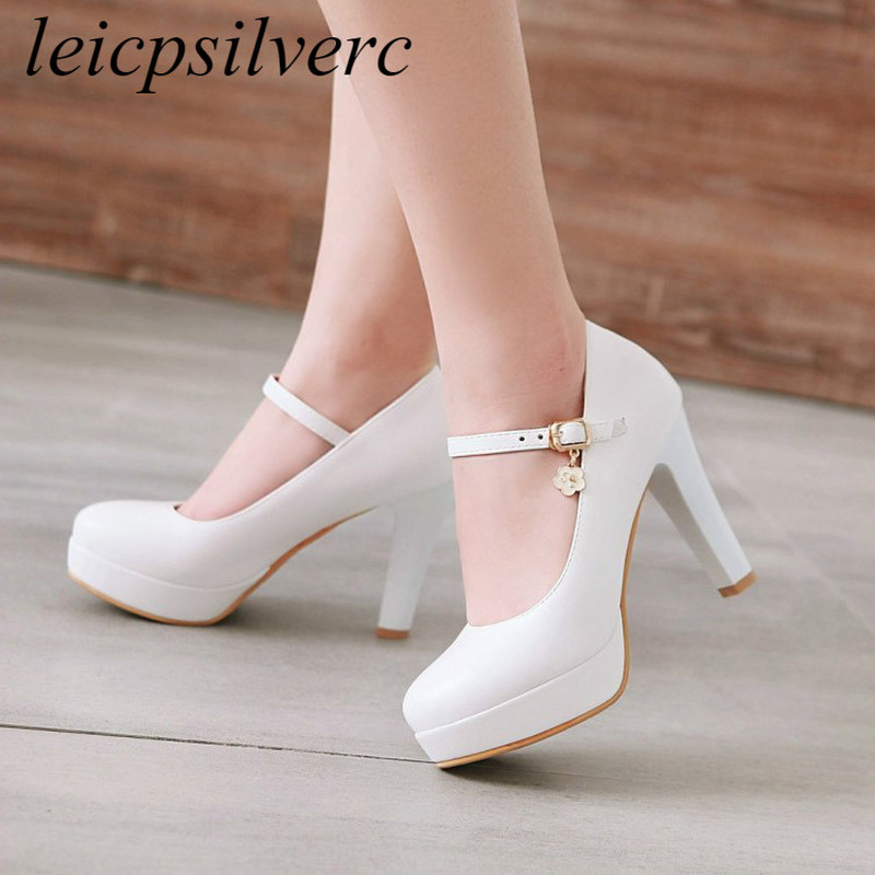 Women's Pumps <font><b>Shoes</b></font> Super High Heel Pu Buckle Platform <font><b>2018</b></font> Spring Autumn <font><b>Sexy</b></font> New Fashion Casual Wedding Party Black White Pink image