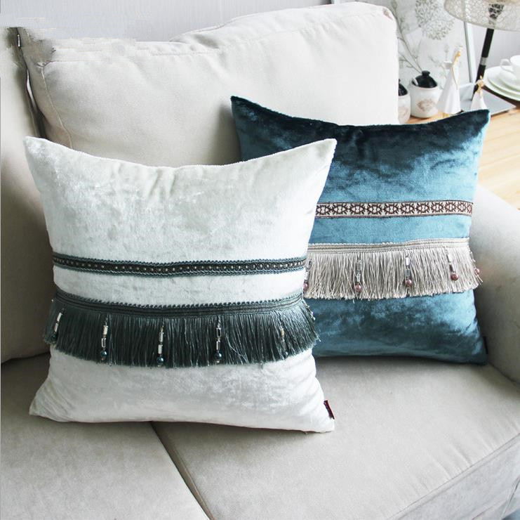 European Style Luxury Tassel Home/Office/Sofa/Bed Decorative Cushion/Throw Pillow(Not Contain Filling)45x45cm