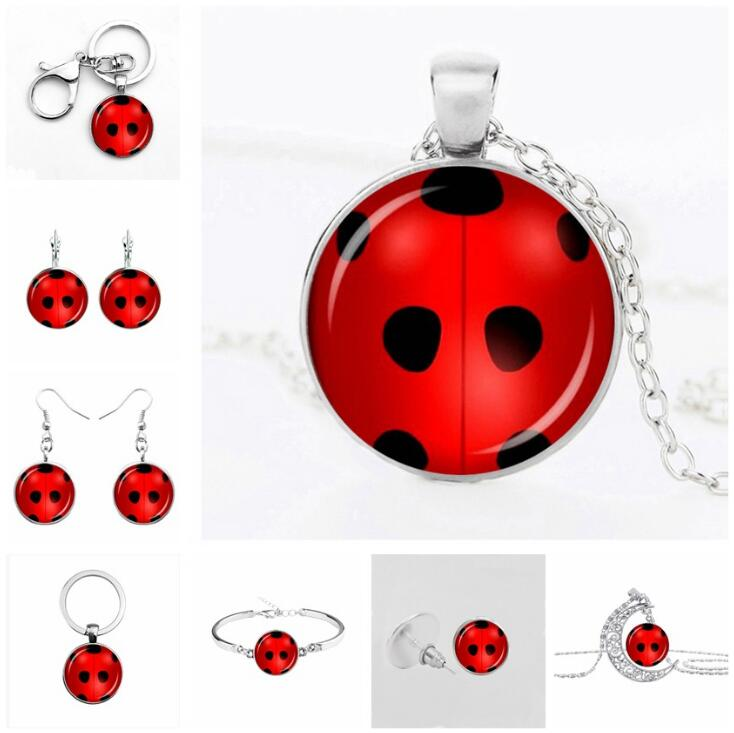 Cute Ladybuging Earrings Cosplay LadyBuging Circle With Dot Cat Noir Gifts For Women Girls Party  Anime Jewelry Decoration