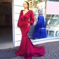 Mermaid V neck Prom Dresses Long Wine Red Shinny Islamic Dubai Abaya Kaftan Hajib Muslim Long Sleeves Evening Dresses 2018