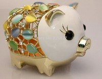 Big Pewter Pig Money Jewelry Box for Coins & Cash Novelty Opal Studded Treasure Saving Bank, White & Rose Gold, 11*7.5*8 CM