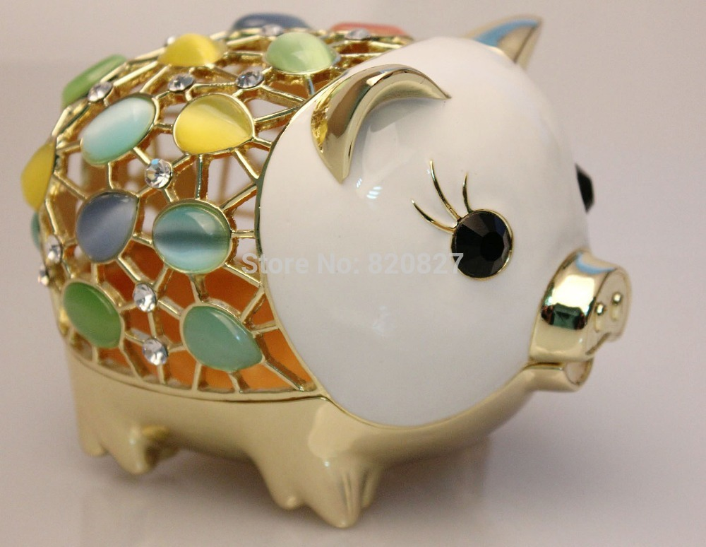 Buy big pewter pig money jewelry box for for Big box jewelry stores