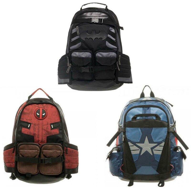 Superheros Deadpool Batman Backpack School Bag Pack Sac A Dos Male female Shoulder Travel Backpack Men