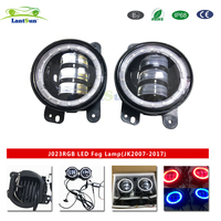 Bluetooth controlled RGB Kit, 2x 4 30W Bumper Halo Ring DRL LED Fog Light Lamps For Jeep Wrangler JK Cherokee Grand Cherokee