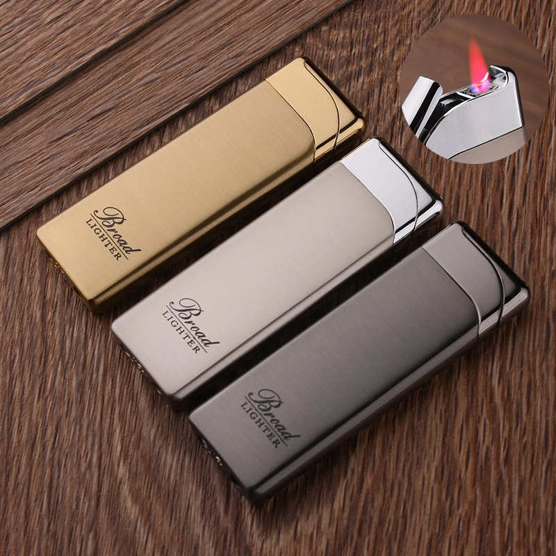 Creative Flat Portable Ultra-thin Plating Metal Gas Lighter Butane Inflatable Windproof Cigarette Red Flame