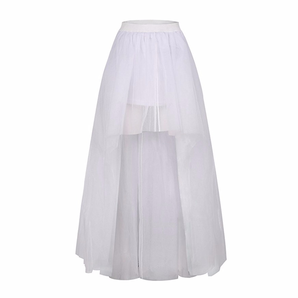 Купить с кэшбэком 2019 high quality Tulle Skirt Sexy High Low Wedding Bridal Petticoat Black White Red underskirt Wedding Accessories